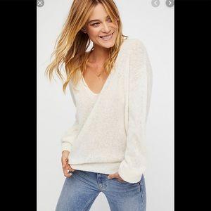 free people gossamer cream v neck sweater